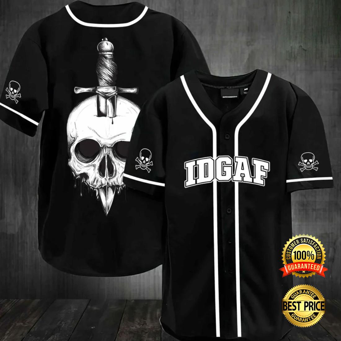 Skull IDGAF baseball jersey 4