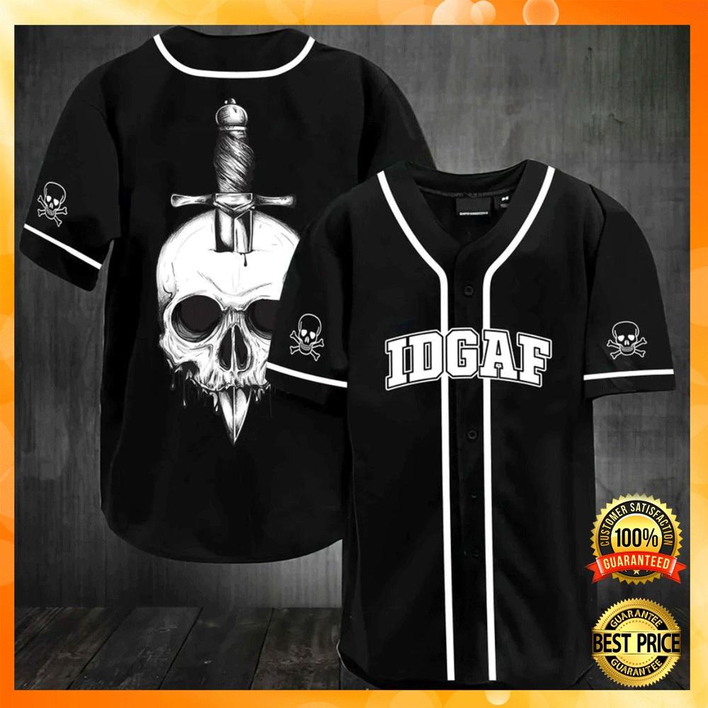 Skull IDGAF baseball jersey1 1