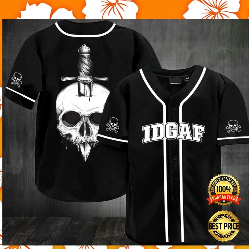 Skull IDGAF baseball jersey2