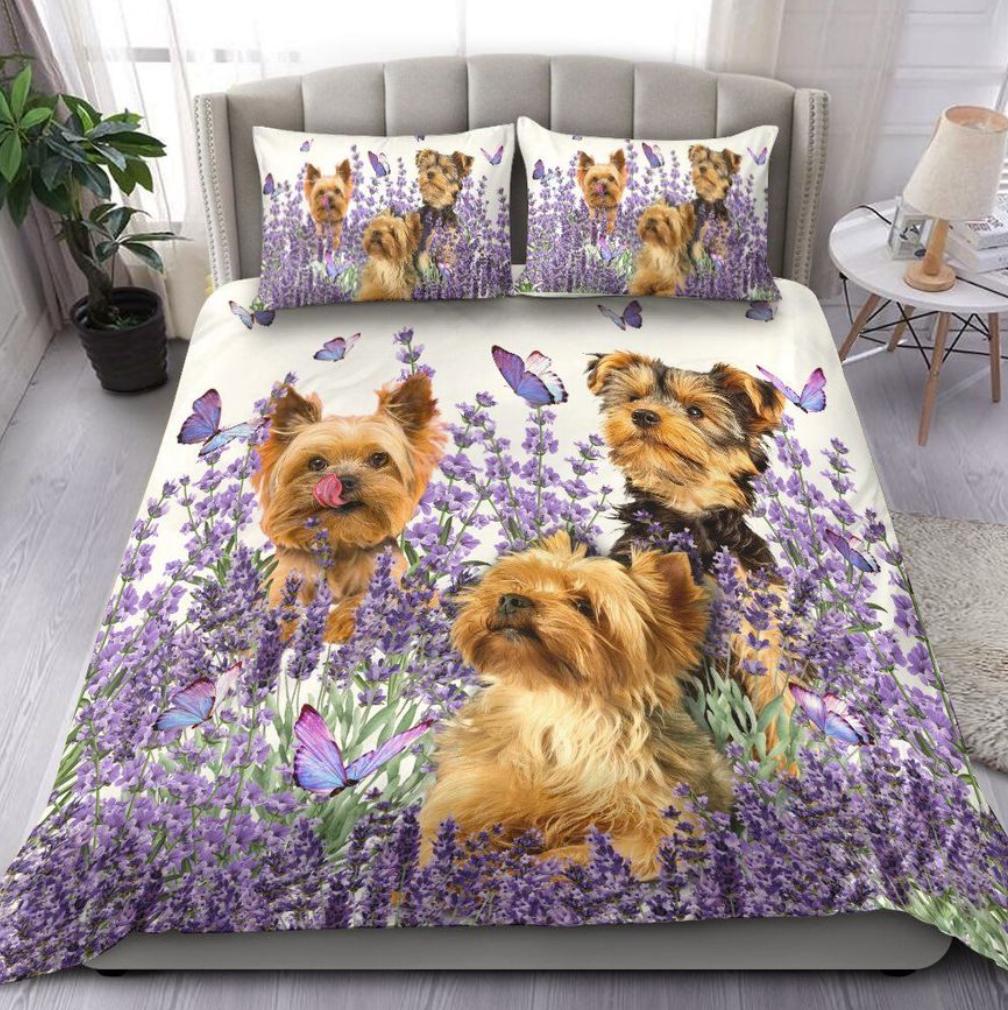 Yorkshire terrier and flower bedding set