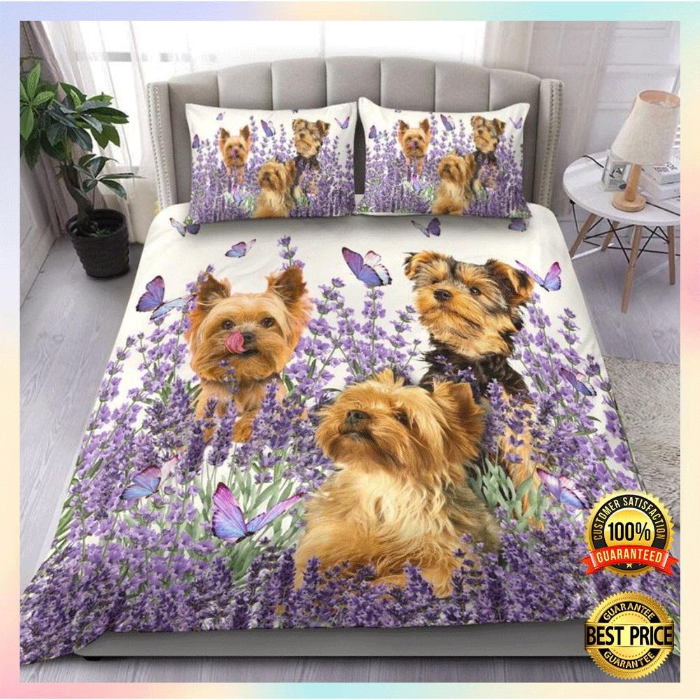 Yorkshire terrier and flower bedding set1