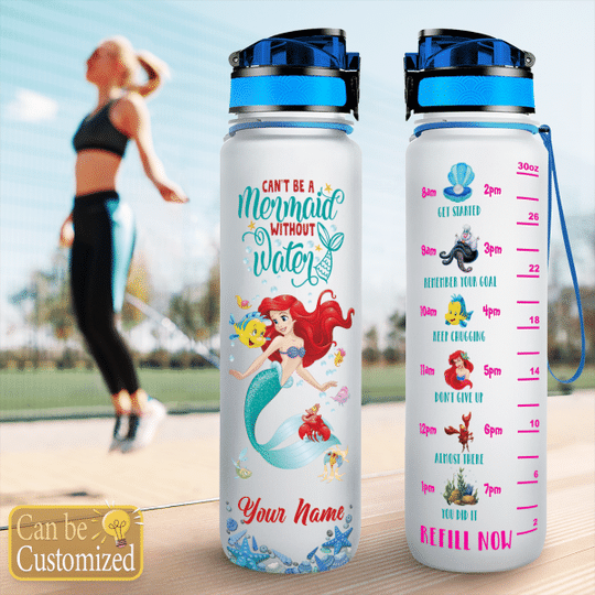 1 Cant be mermaid without water custom name water tracker bottle 1