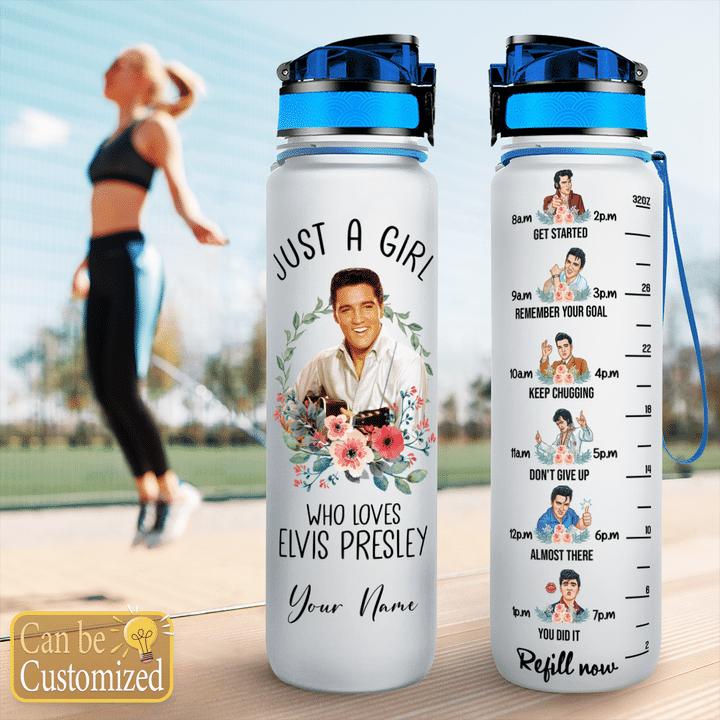 1 Just a girl who loves Elvis presley custom name water tracker bottle 1