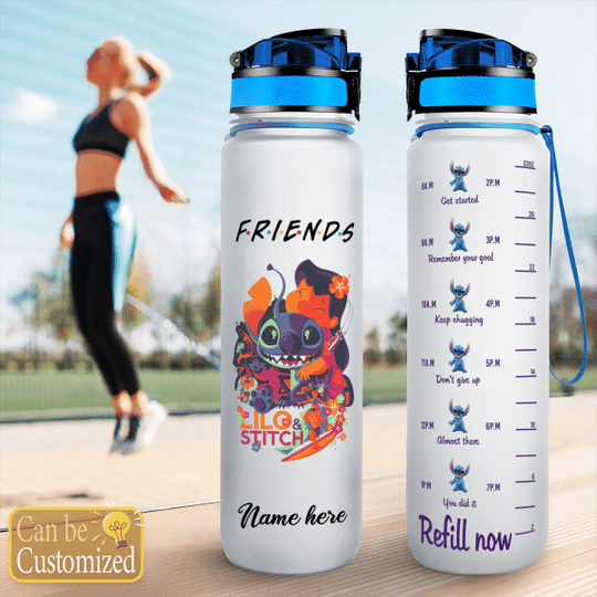 2 Stitch and Lilo friends custom name water tracker bottle 1