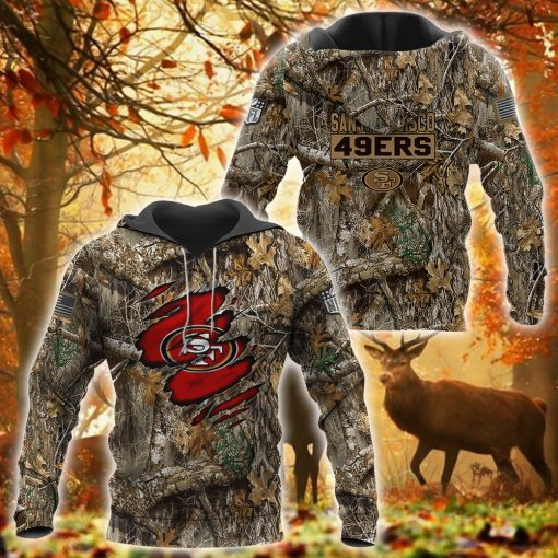 20 Deer hunting Camo San Francisco 49ers 3d over print Hoodie 1