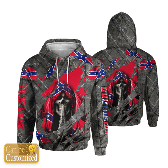 23 Skull southern confederate flag 3d over print hoodie 1