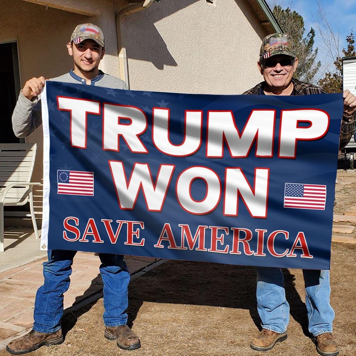 24 Trump won save america Flag 1