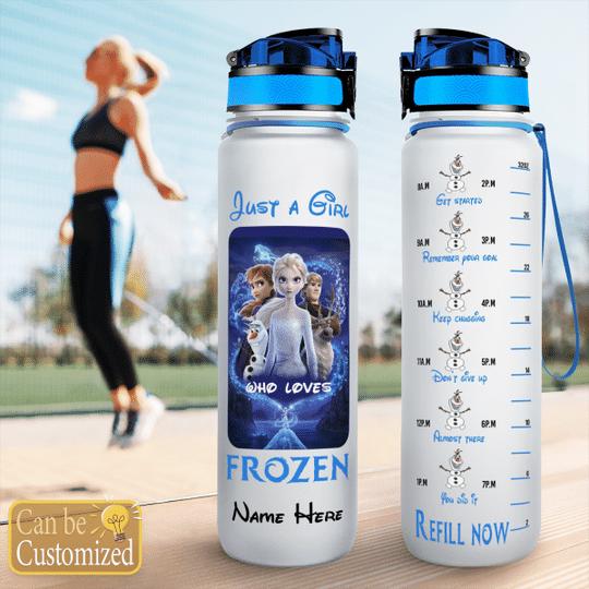 3 Just a girl who loves frozen water tracker bottle 1