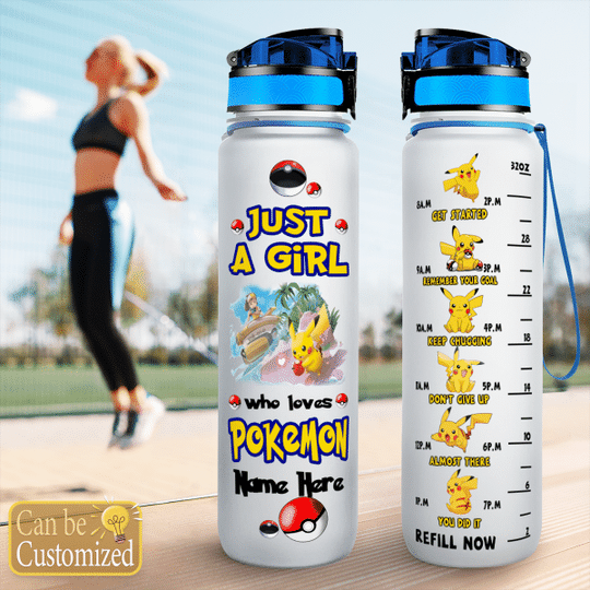 5 Just a girl who loves pokemon water tracker bottle 1