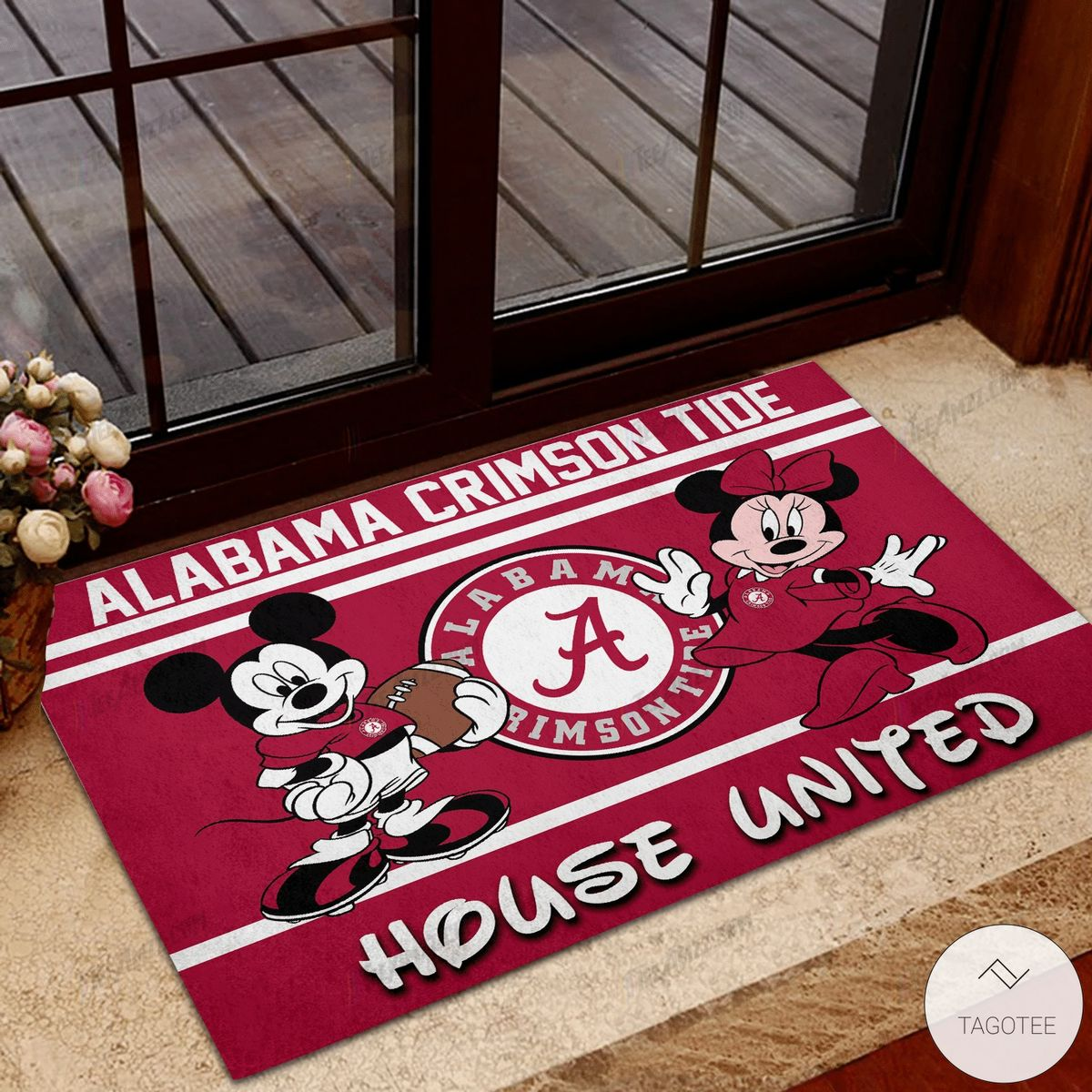 Alabama Crimson Tide House United Mickey Mouse And Minnie Mouse Doormat