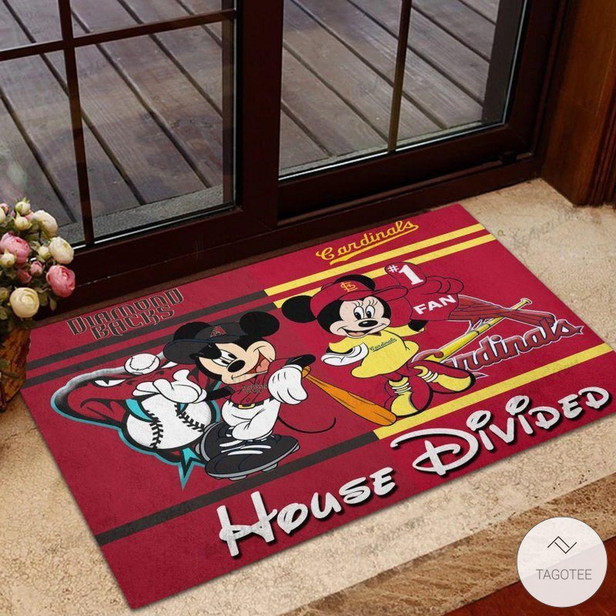 Arizona Diamondbacks House Divided Cardinals Mickey Mouse And Minnie Mouse Doormat
