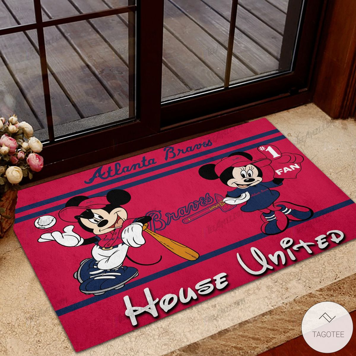 Atlanta Braves House United Mickey Mouse And Minnie Mouse Doormat