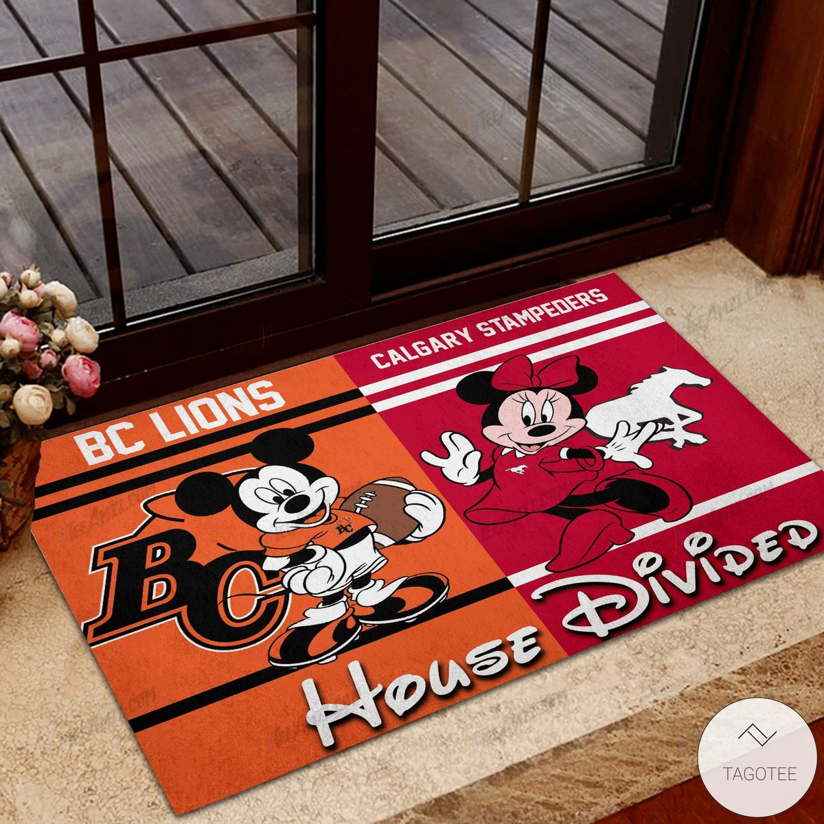 BC Lions House Divided Calgary Stampeders Mickey Mouse And Minnie Mouse Doormat
