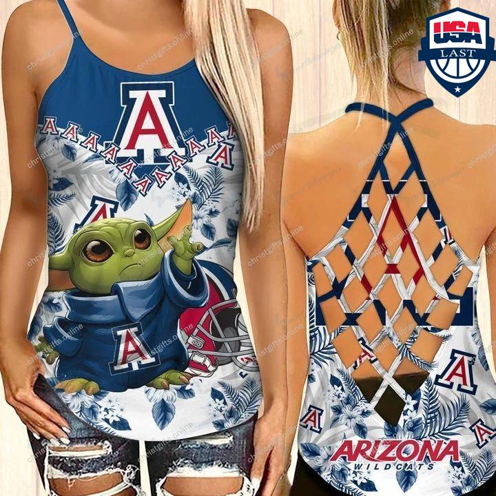 Baby Yoda Arizona Wildcats NCAA Criss Cross Back Tank Top