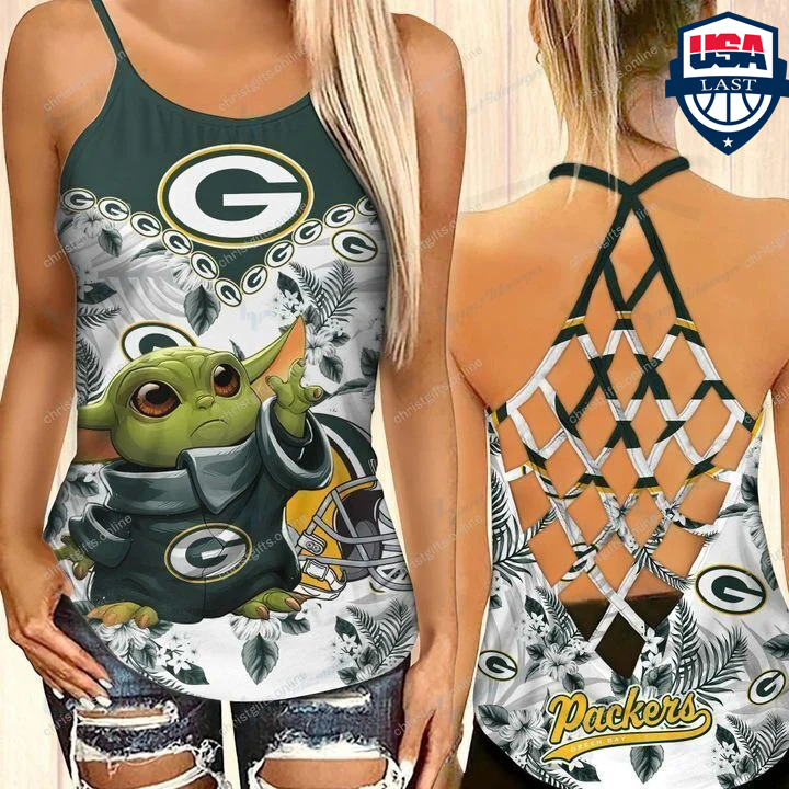 Baby Yoda Green Bay Packers NFL Criss Cross Back Tank Top