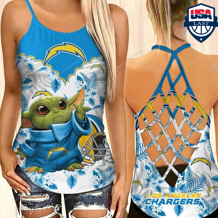 Baby Yoda Los Angeles Chargers NFL Criss Cross Back Tank Top