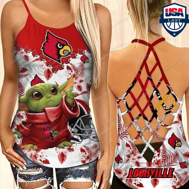 Baby Yoda Louisville Cardinals NCAA Criss Cross Back Tank Top