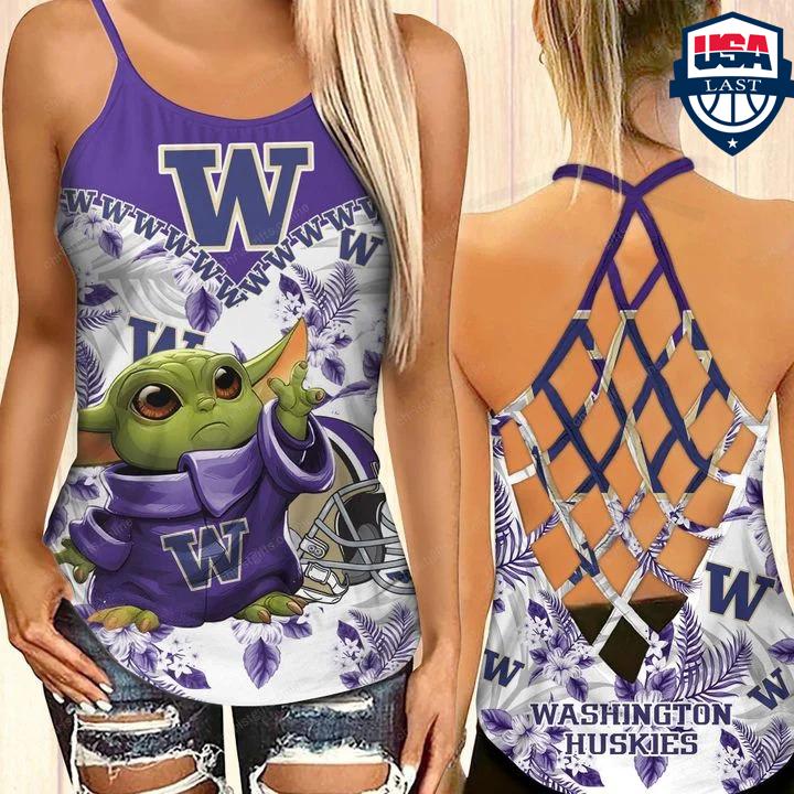Baby Yoda Washington Huskies NCAA Criss Cross Back Tank Top