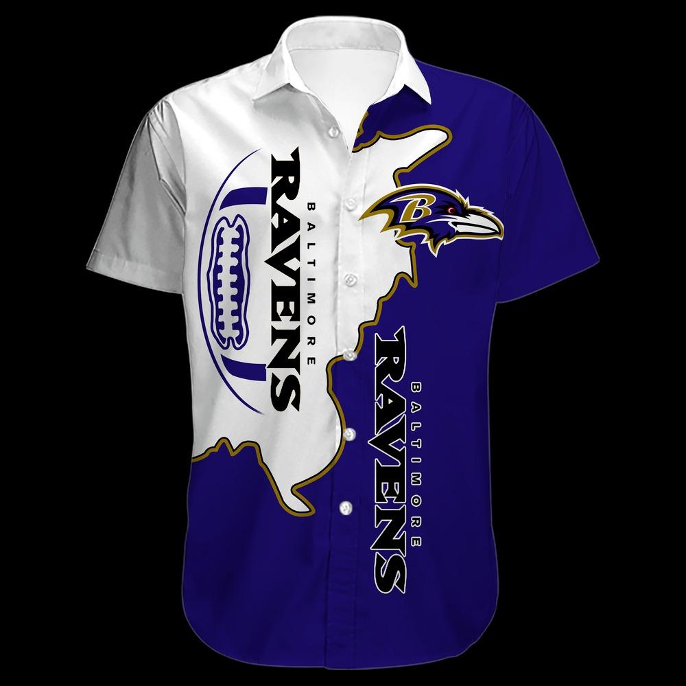 Baltimore Ravens NFL Hawaiian Button Shirt