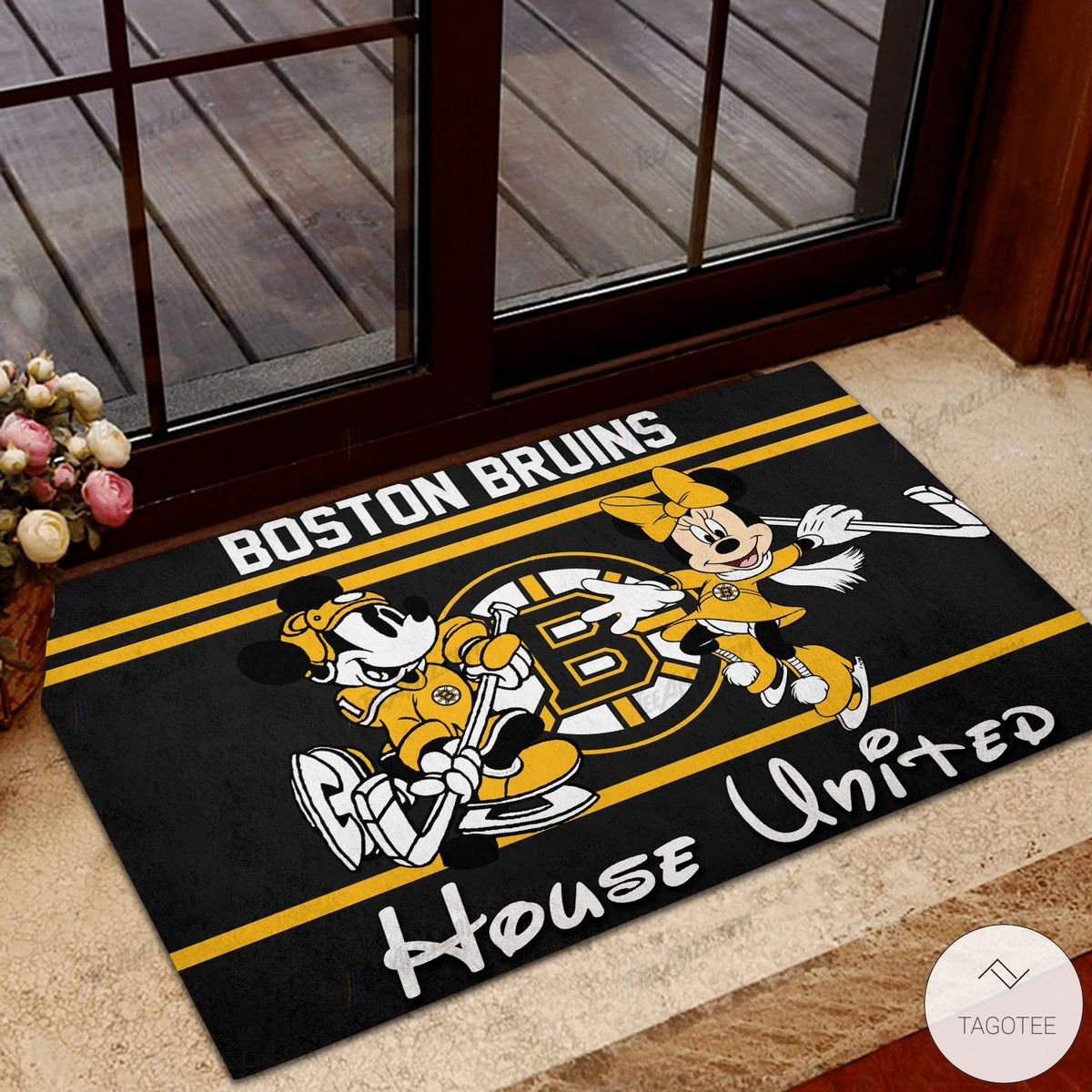 Boston Bruins House United Mickey Mouse And Minnie Mouse Doormat