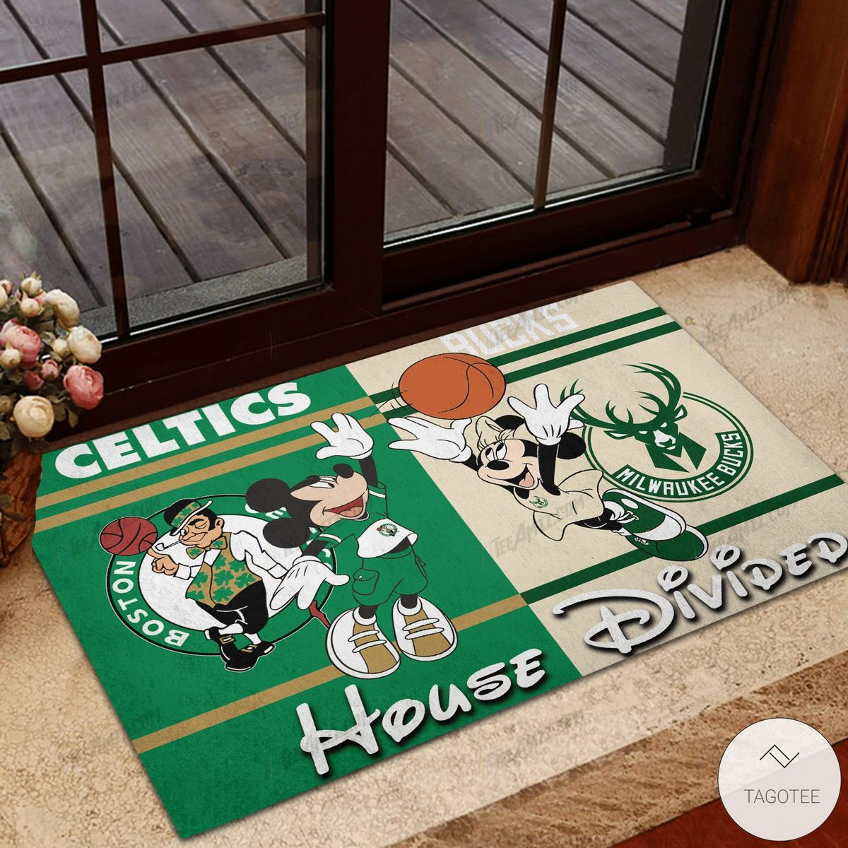 Boston Celtics House Divided Milwaukee Bucks Mickey Mouse And Minnie Mouse Doormat