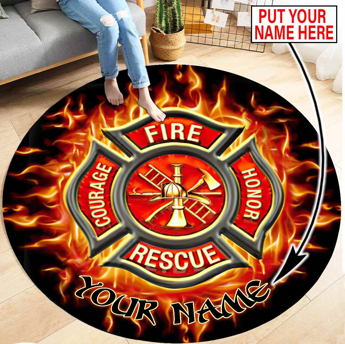 Customize Name Firefighter Circle Round Rug