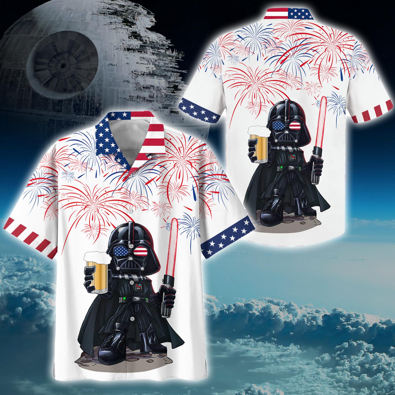 Darth vader american patriot beer hawaiian t shirt