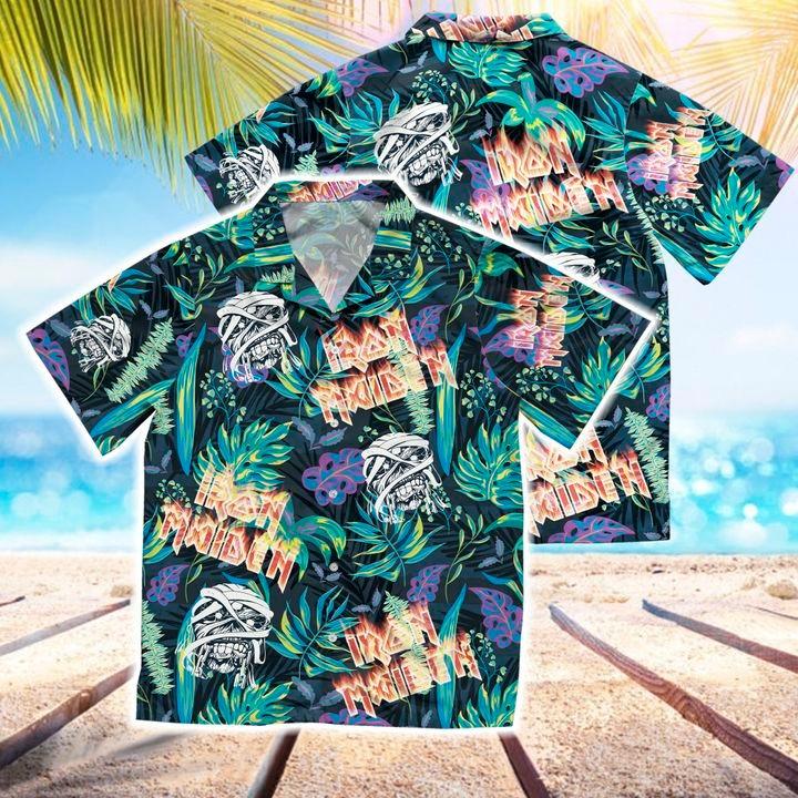 Iron maiden short sleeve button hawaiian shirt