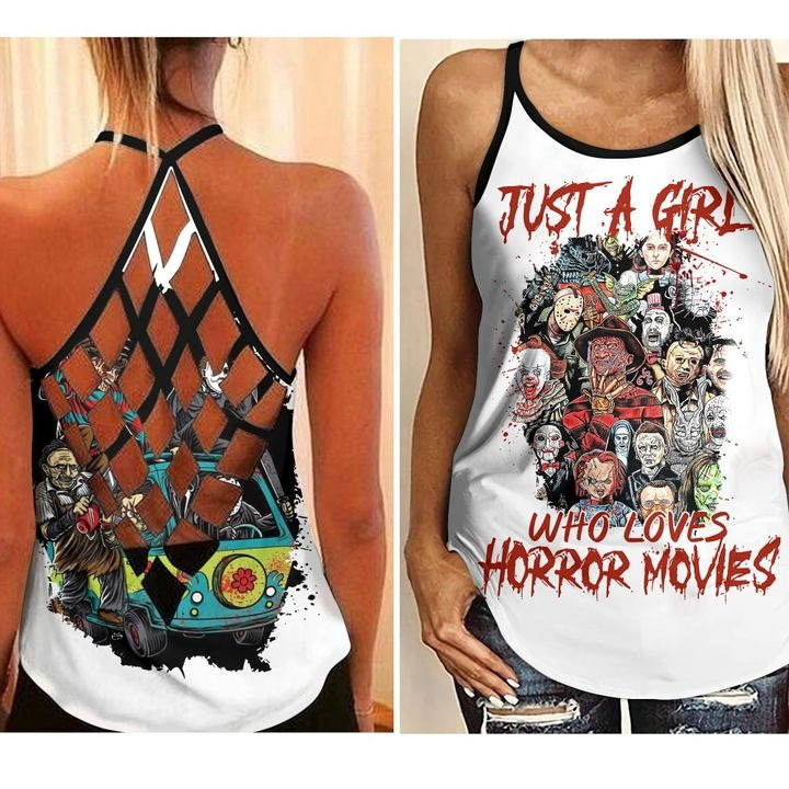 Just a girl who loves horror movies cross open tank top