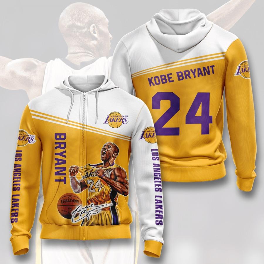 KB24 Kobe Bryant NBA Los Angeles Lakers 3D Zip up Hoodie