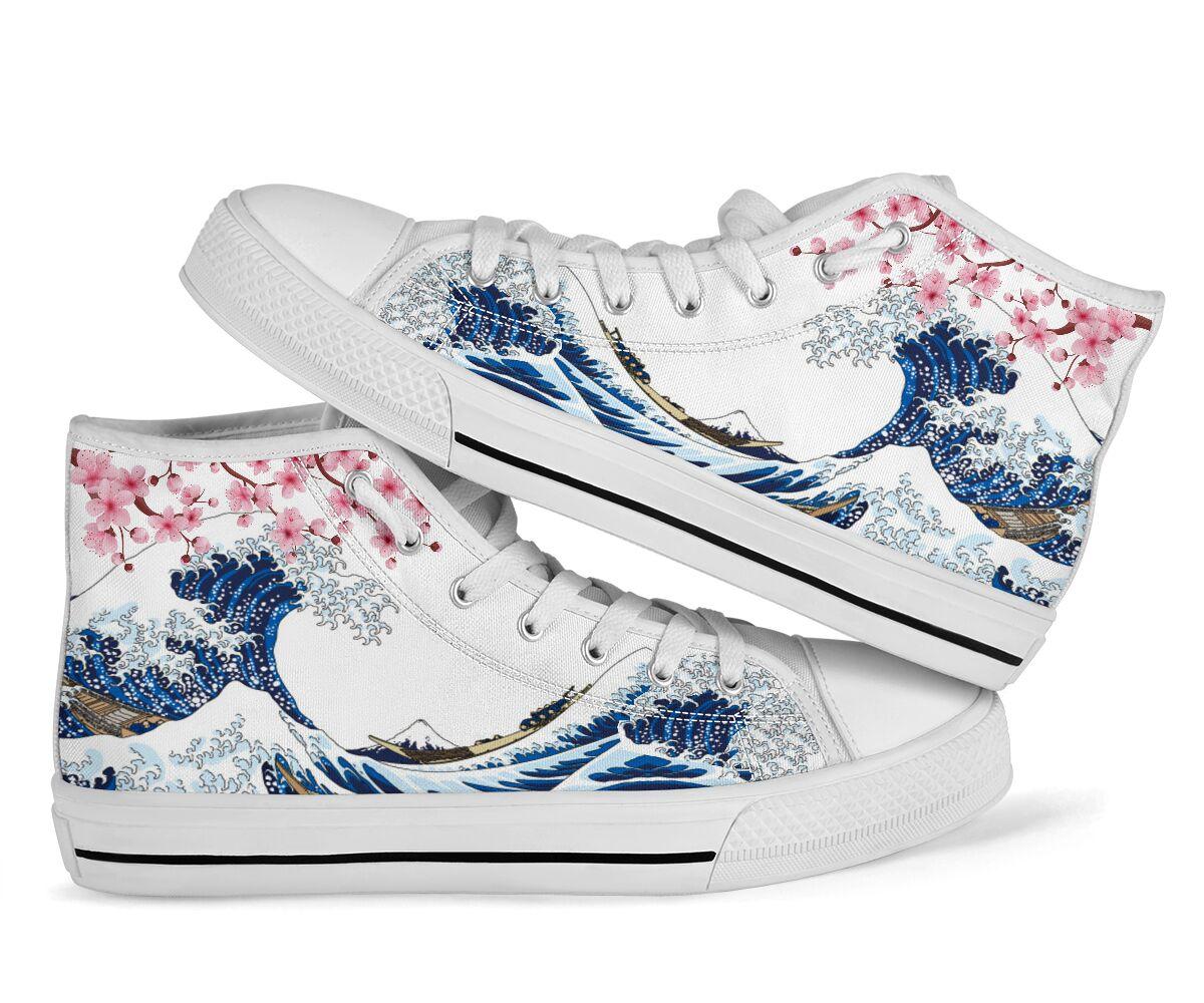 Kanagawa wave sakura cherry blossom japanese high top shoes 2