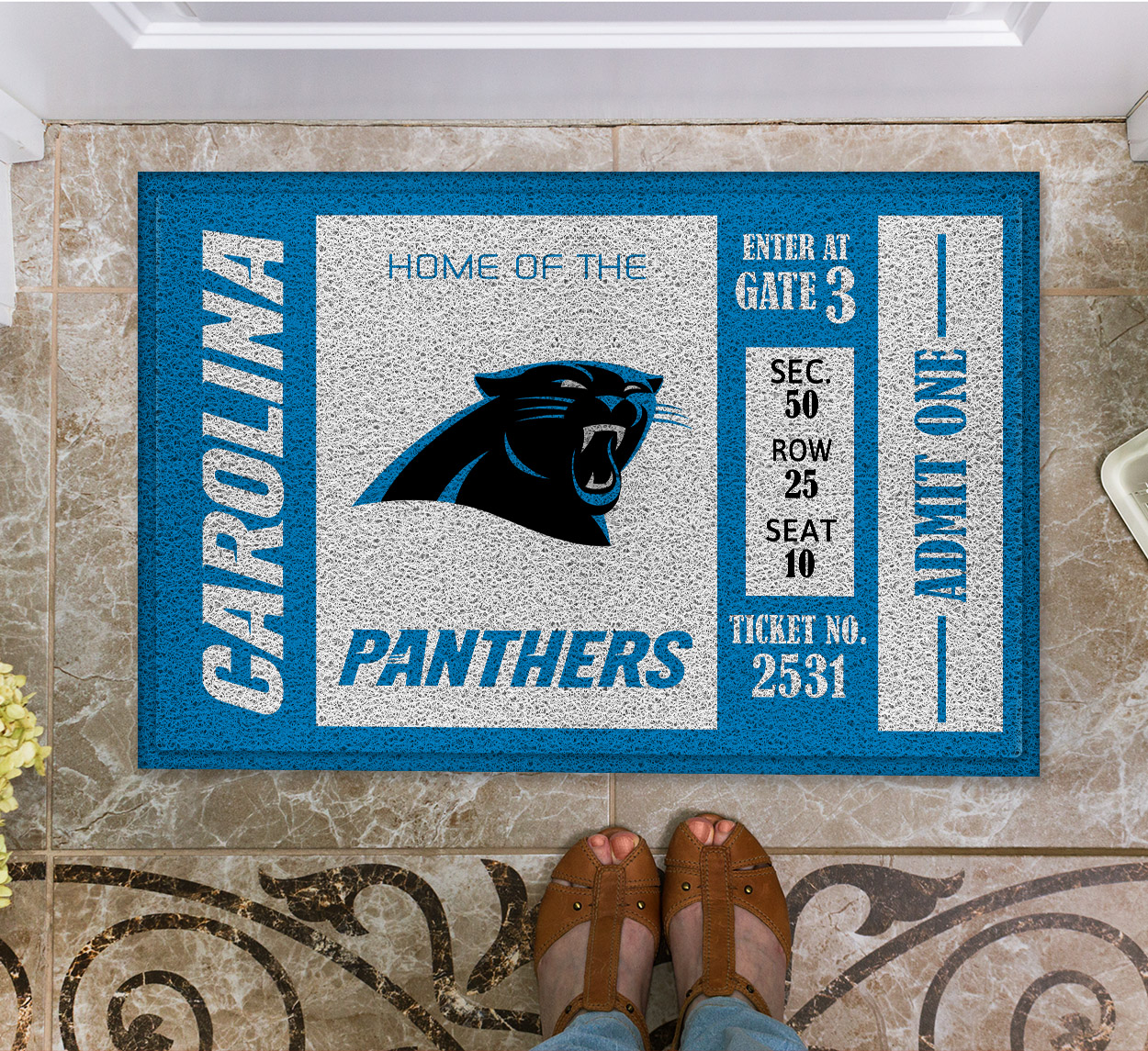 NFL Carolina Panthers Team Ticket Runner Doormat