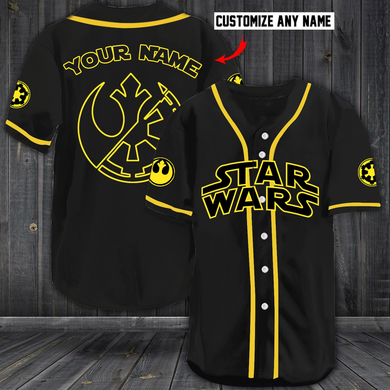 Personalized custom name star wars baseball jersey
