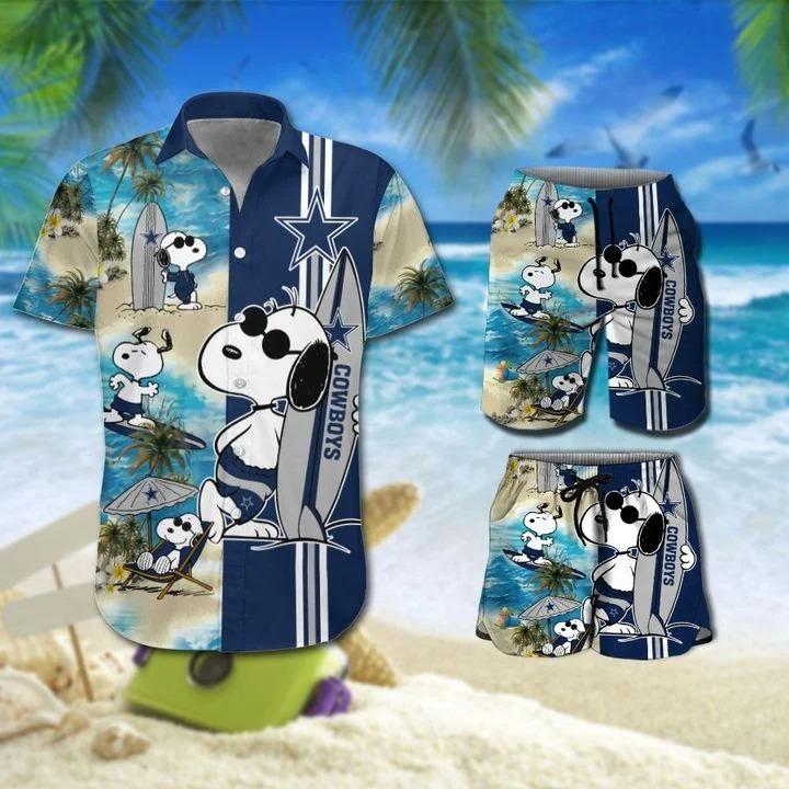 Snoopy And Dallas Cowboys Hawaiian Shirt Beach Shorts