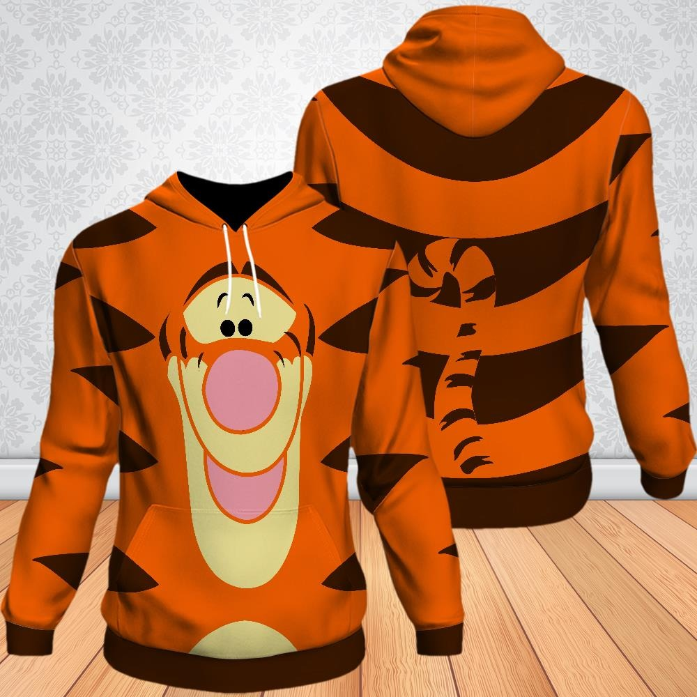 Tigger Winnie the Pooh Funny Cartoon 3D Pocket Pullover Hoodie 1