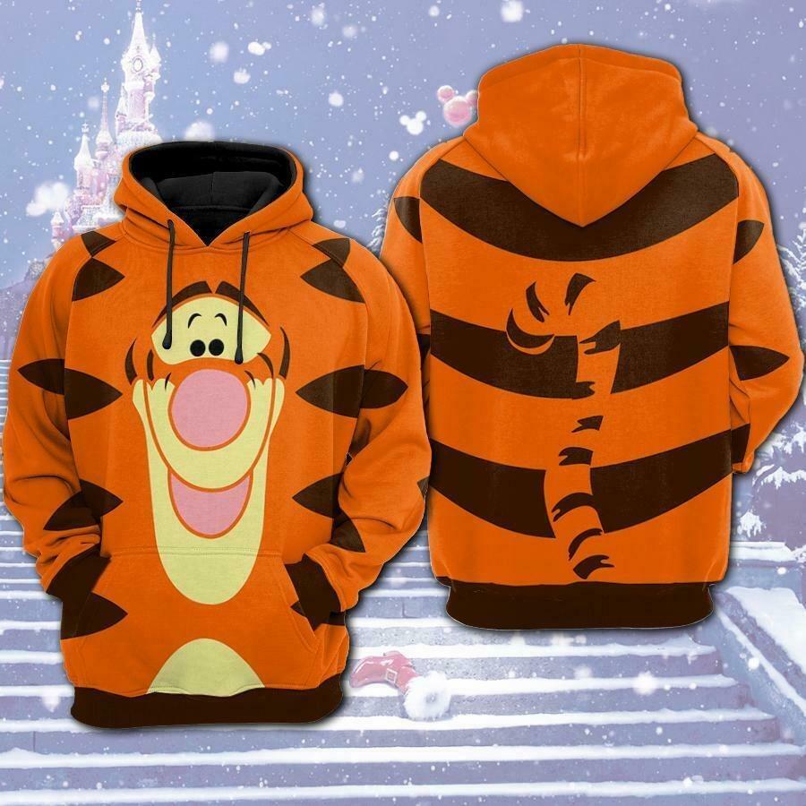 Tigger Winnie the Pooh Funny Cartoon 3D Pocket Pullover Hoodie