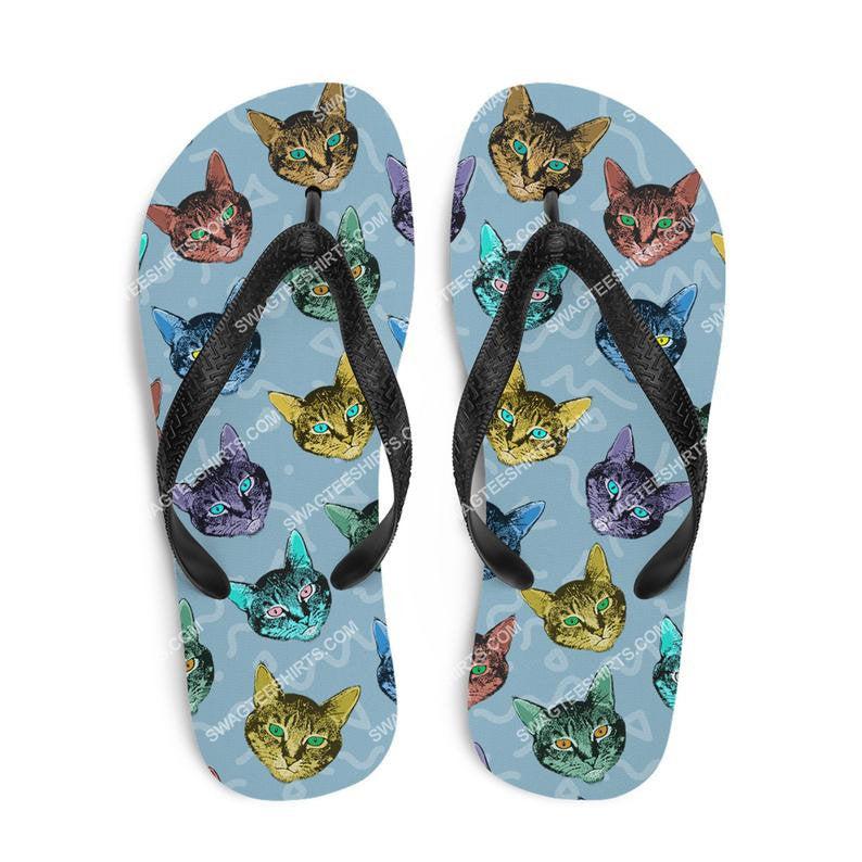 colorful cat lover all over print flip flops 2