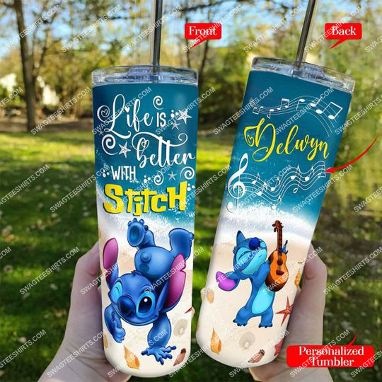 custom life is better with stitch skinny tumbler 21