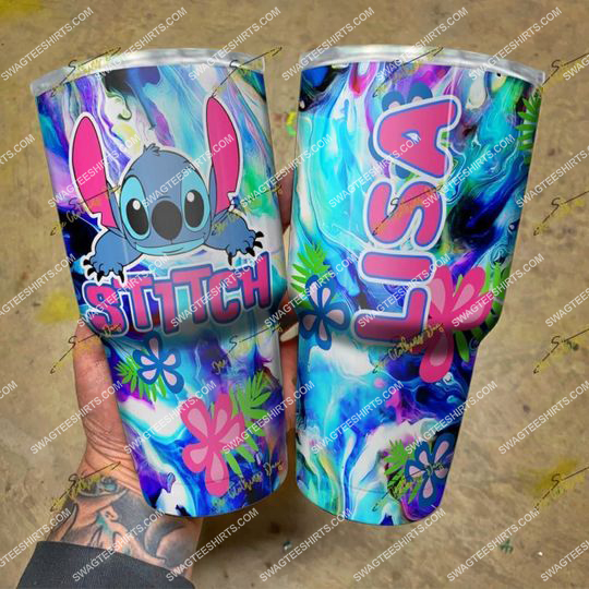custom name floral and stitch steel tumbler 21