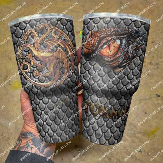custom name game of thrones winter is coming dragon steel tumbler 21