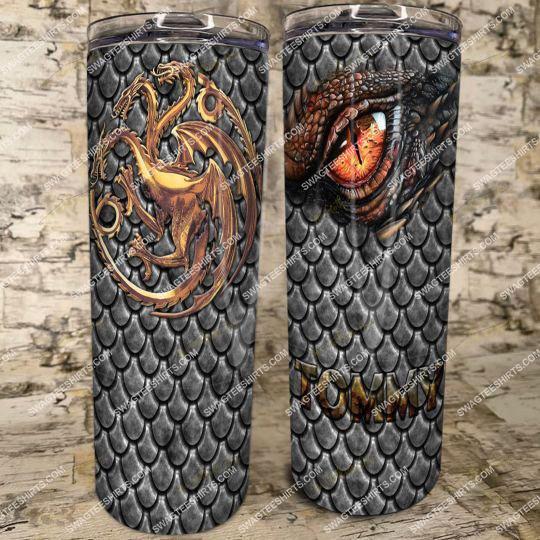 custom name game of thrones winter is coming steel skinny tumbler 21
