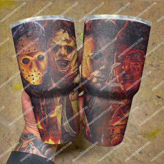 custom name halloween horror movies stainless steel tumbler 21