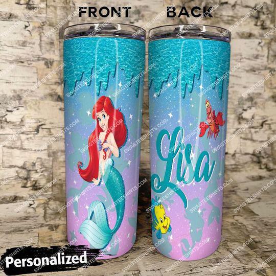 custom name the little mermaid ariel glitter steel skinny tumbler 21
