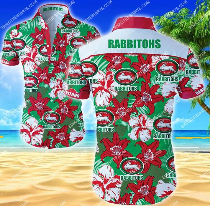 floral south sydney rabbitohs all over print hawaiian shirt 1