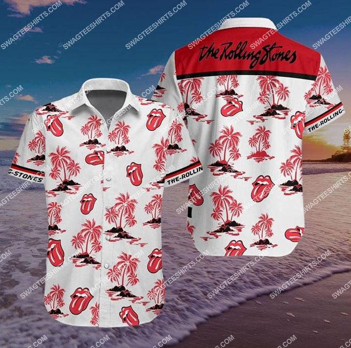 the rolling stones all over print hawaiian shirt 1