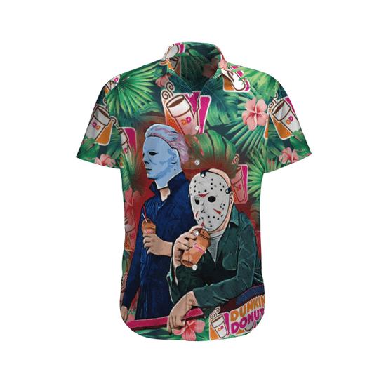 26 Jason Voorhees and Michael myers Dunkin Donut hawaiian shirt 1