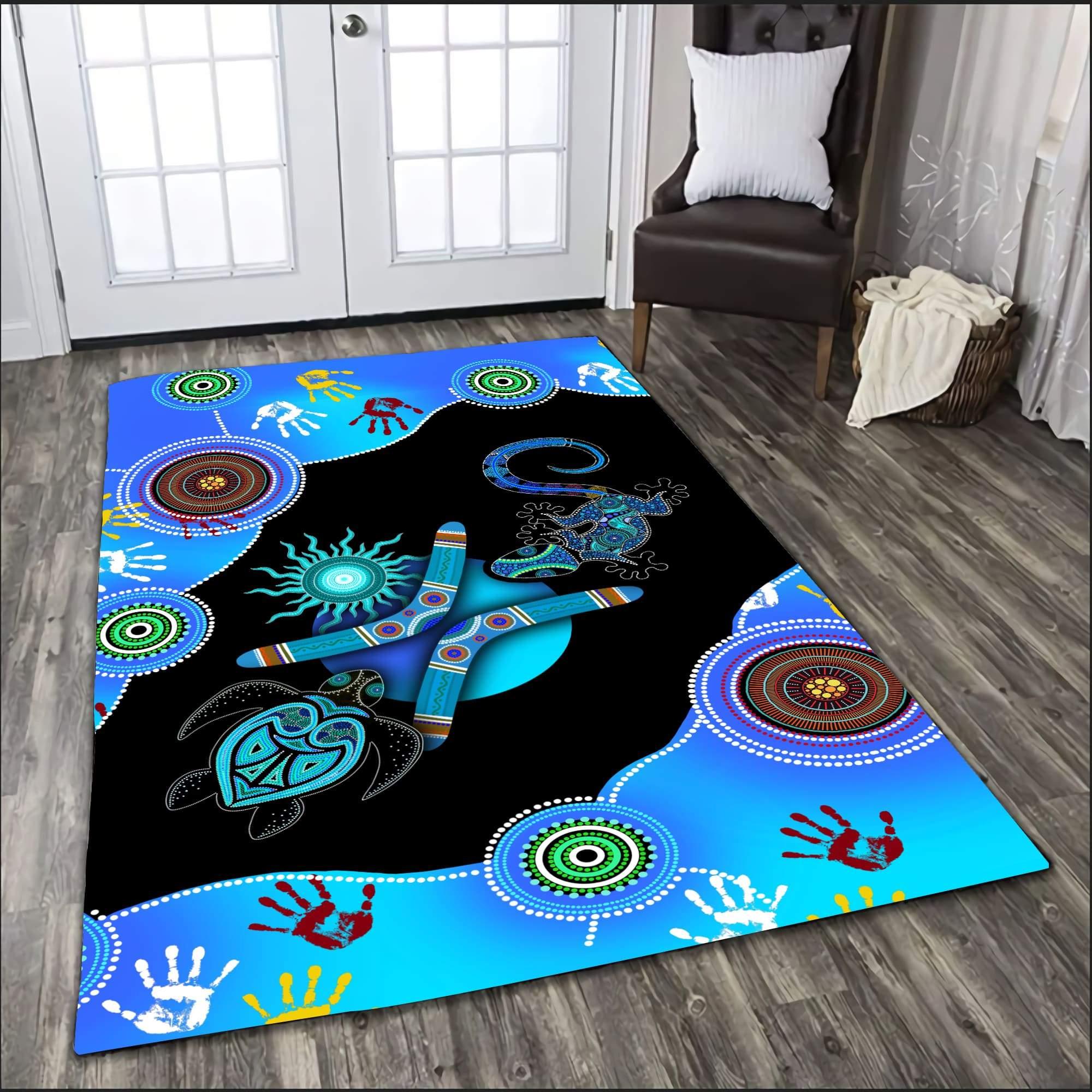 Aboriginal Naidoc Week 2021 Blue Turtle Lizard 3D print Rug
