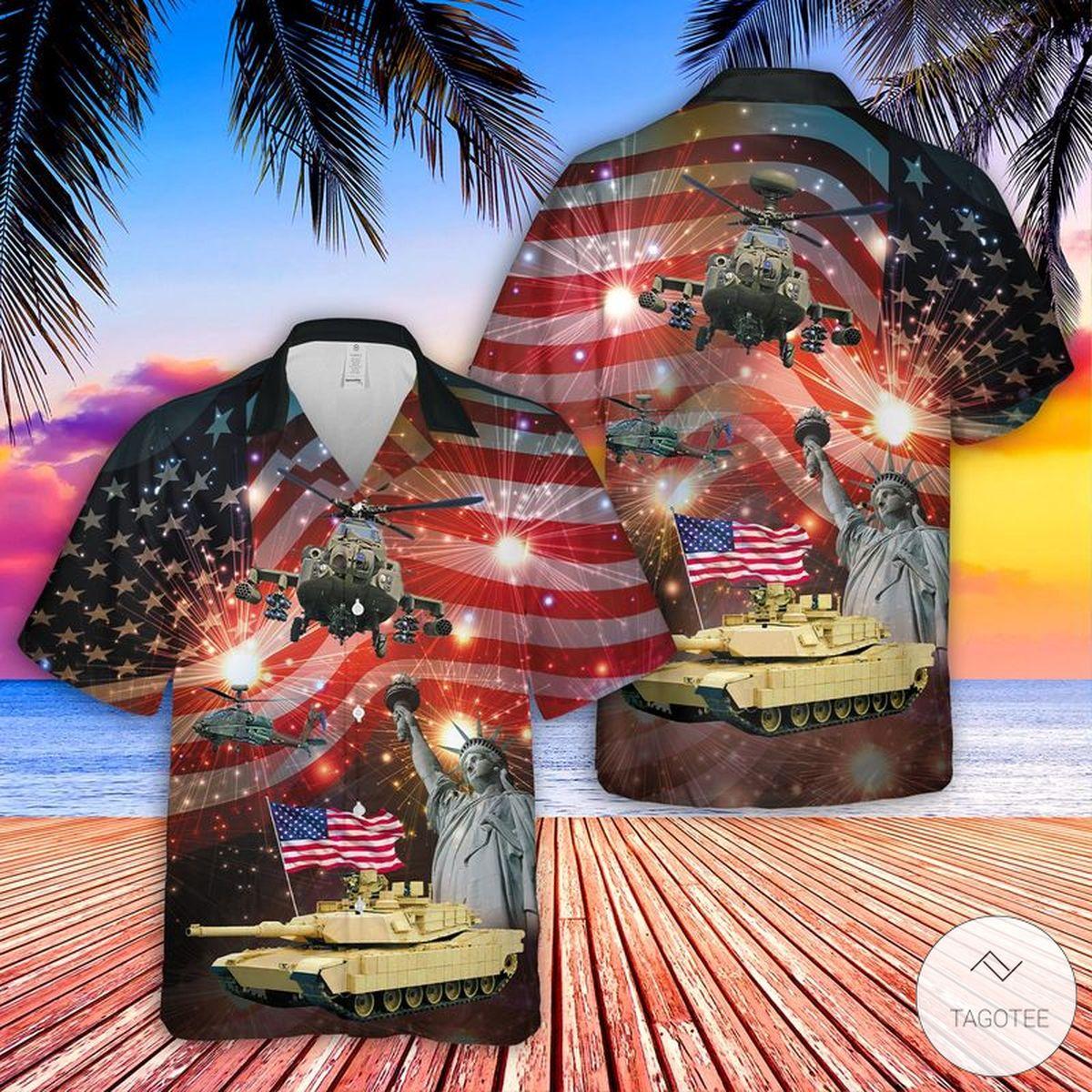 Abrams Battle Tank And Apache 4th Of July Hawaiian Shirt Beach Shorts