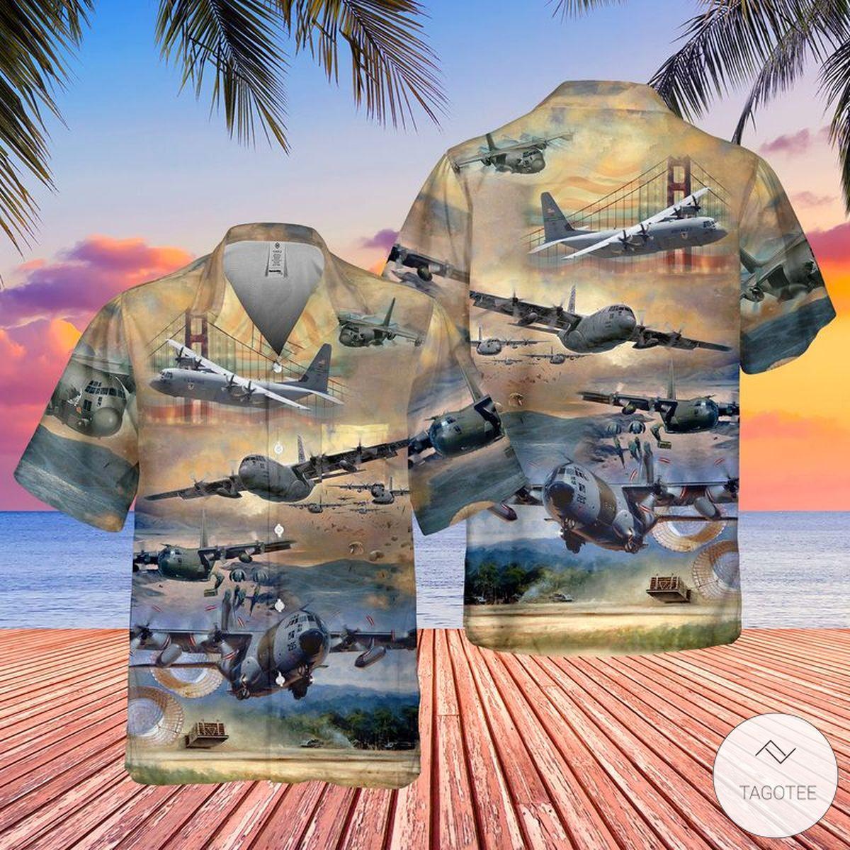 Air Force Lockheed C 130 Hercules Pocket Hawaiian Shirt Beach Shorts