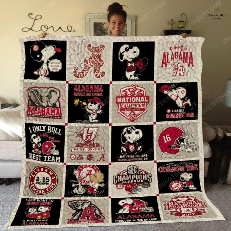 Alabama crimson tide football and snoopy all over print quilt 1